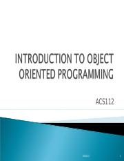 WEEK 1 intro to object prog