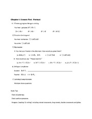 Chapter 1 Lesson Test  Format
