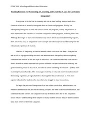 EDUC 118 Reading Response Assignment 4 - Curriculum Integration