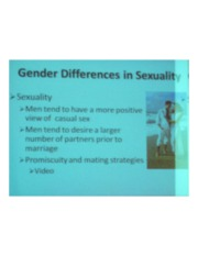PSYCH 360 Social Psychology - Gender Differences in Sexuality