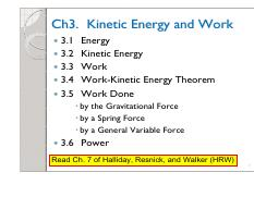 Ch3 Kinetic Energy and Work