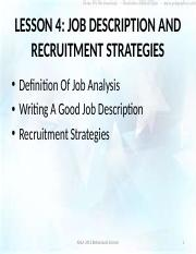 Lesson 4- Job Description and Recruitment Strategies
