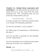 MAT 1371 Simple Linear Regression and Correlation Modelling Notes