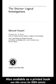 Husserl Shorter Logical_Investigations