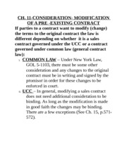 CH. 11- MODIFICATION OF A PRE-EXISTING CONTRACT