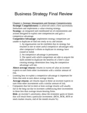 Business Strategy Final Review