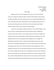 english essay on the absolutely true diary of a part time  english 103 essay on the absolutely true diary of a part time n copy randale patterson prof claiborne english 103 overcoming sherman alexies