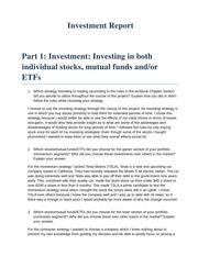 Investment Report Example 01 Poor