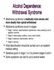 Alcohol Dependence Withdrawal Syndrome