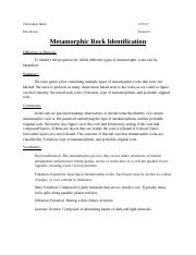 lab cover sheet Metamorphic Rock Identification.docx