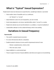 Lecture 9 - What is Normal Sex
