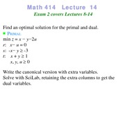 Lecture 14 on Linear Programming