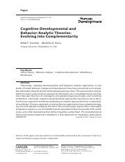Cognitive-Developmental and Behavior Analytic Theories