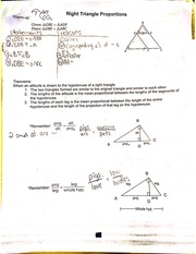 right triangle proportions notes