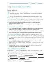 Skills Worksheet Directed Reading Section The Structure Of ...