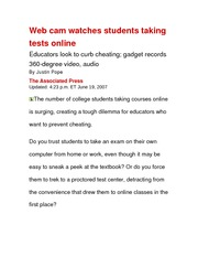 AC  Privacy Web cam watches students taking tests online