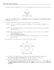 Quiz 2 Solution on Excursions in Mathematics