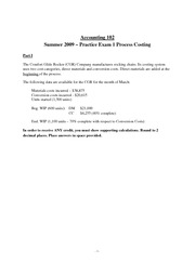 Practice Exam 1 Process Costing