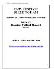 POLS 102 - Classical Political Thoughts 2013 to 2014