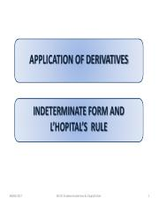 CH 2I Indeterminate Form & L'Hopital's Rule