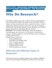 2.5.2 - Instruction - Elizabethan England Research Paper and Podcast - The Research Process.docx