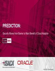 Prediction Security Moves from Barrier to Main Benefit of Cloud Adoption