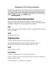 Assignment 3 APA Citation Guidelines