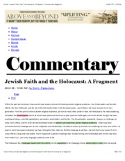 Article « Jewish Faith And The Holocaust A Fragment « Commentary Magazine