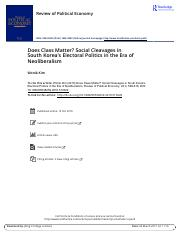 Does Class Matter Social Cleavages in South Korea s Electoral Politics in the Era of Neoliberalism.p