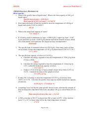 Heat Worksheet Specific Heat And Heat Capacity Worksheet 1 The