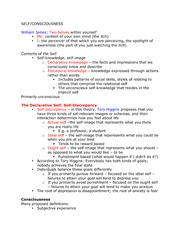 Lecture 10 Class Notes, Self and Consciousness