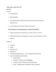 Exam 2 Study Guide Spring 2012 Chapters 4 & 5