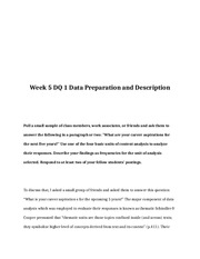 BUS 642 Week 5 DQ 1 Data Preparation and Description