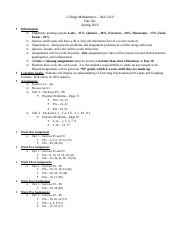 College Mathematics - Day Six Outline
