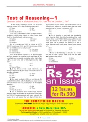 TEST OF REASONING ALLAHABAD BANK  P.O. EXAM 2007