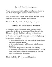 Joy Luck Club Movie Assignment