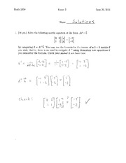 Sample Exam 2 Solution Summer 2014 on Differential Equations and Linear Algebra