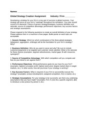 Global Strategy Creation Assignment