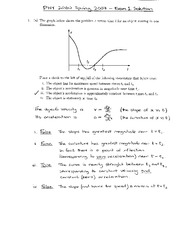 Exam 1 Solution Spring 2007 on Physics 1 Honors with Mechanics
