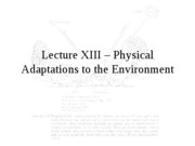 Lecture XIII - Physical Ecology