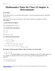 Mathematics Notes and Formula for Class 12 chapter 4. Determinants.pdf