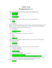 AVSC 2110 Reading Review 1.1