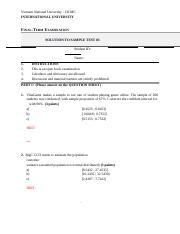 STATISTICS FALL2013 - SOLUTION TO FINAL SAMPLE TEST 03