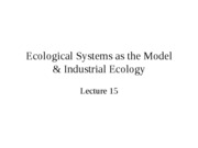 Lecture15EcologicalModels&IndustrialEcology