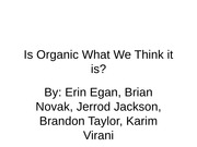 Business Ethics - Organic Presentation