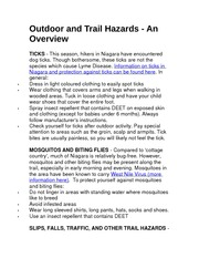 Outdoor and Trail Hazards Homework For TREN 2P94