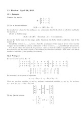 Lecture 12 on Exam Review on Matrix Algebra