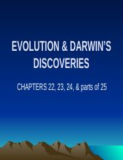 Ch 22 EVOLUTION & DARWINS DISCOVERIES