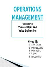 Operation Value Analysis and Engineering (1)