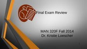 Final Exam Review Fall 2014